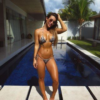 Steph Pacca by the pool