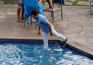 zac efron falls into a pool